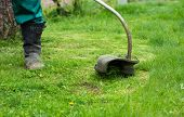 image of grass-cutter  - Man mowing the grass with electric trimmer selective focus - JPG