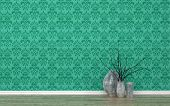 picture of green wall  - Assortment of Contemporary Vases with Twigs in Empty Room with Wood Floor and Wall Decorated with Green Patterned Wall Paper - JPG