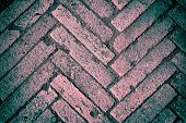 image of cinder block  - Old block pavement fragment texture background pink and turquoise colors - JPG