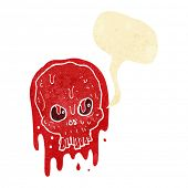 picture of bloody  - cartoon bloody skull with speech bubble - JPG