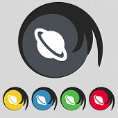 stock photo of saturn  - Saturn planet icon sign - JPG