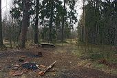 stock photo of ember  - It is the place of camp tourists in the forest.