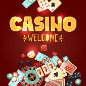 picture of poker machine  - Casino gambling poster with poker cards dice roulette domino chips slot machine vector illustration - JPG