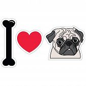 image of pug  - I Love Pugs icon with heart - JPG