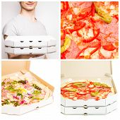 picture of take out pizza  - Fast food pizza delivery set - JPG