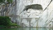 stock photo of mountain lion  - famous dying lion monument in Lucerne Switzerland  - JPG
