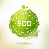 stock photo of food logo  - Vector drawing stamp label for eco friendly product - JPG