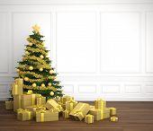 Golden Christmas Tree In White Rrom