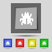 picture of disinfection  - Software Bug Virus Disinfection beetle icon sign on the original five colored buttons - JPG
