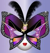 foto of mummer  - against the violet background of the carnival butterfly mask decorated feathers - JPG