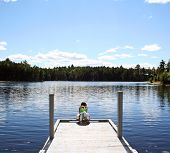 picture of moosehead  - Little girl on dock at lake in Maine - JPG