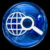 Globe And Magnifier Icon Blue.