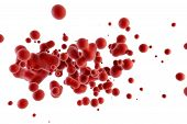 stock photo of red-blood-cell  - super macro scene with blood red corpuscles - JPG