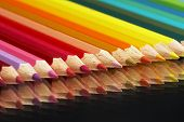 Colored Crayons On A Mirrow