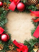 Christmas wreath on the paper