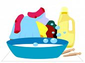 Laundry - Hand Washing, Separate Items - Vector