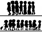 Children Walking - Vector Silhouette
