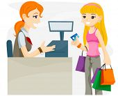 Teenage Shopper using Credit Card - Vector