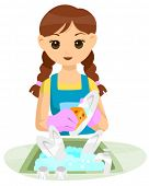 Teenage washing dishes - Vector