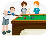 Playing Billiards - Vector