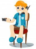 Muchacho en teléfono viendo TV - Vector