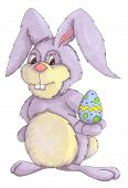 stock photo of easter eggs bunny  - hand drawn illustration of an easter bunny holding an easter egg - JPG