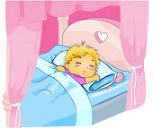 Child sleeping in Canopy Bed - Vector