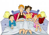 Reading Bedtime Story - Vector