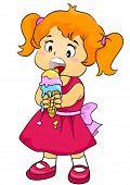 Child Eating Ice Cream - Vector