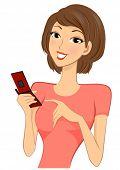 Menina com celular - vetor