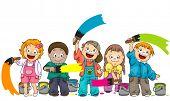 Children Painting - Vector