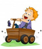 Boy on Wooden Kart - Vector