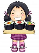 Girl with Sushi - Vector