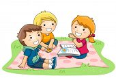 stock photo of playmates  - Child telling stories in the Park  - JPG