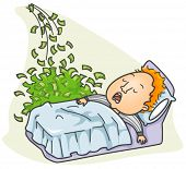 Businessman with Money coming in while Sleeping - Vector
