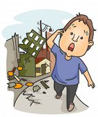 An Anxious Man Walking Away From Buildings Wrecked by an Earthquake - Vector