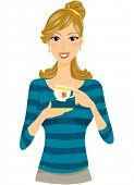 A Smiling Woman Poised to Sip a Cup of Tea - Vector