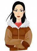 A Smiling Eskimo Dressed in Winter Clothes Standing with Arms Crossed - Vector