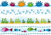 Four Border Designs Featuring Underwater Scenes - Vector