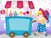 Party Invitation Featuring a Kid Pushing a Cart Carrying Candies and Ice Cream