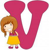 Illustration of a Little Girly Shyly Posing Beside a Letter V