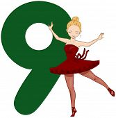 Illustration of a Pretty Lady Dancing Beside a Number Nine