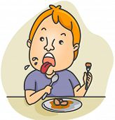 Illustration of a Man Disgusted by the Food He Ate