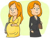 Illustration of Two Women Depicting the Choice Between Career and Family