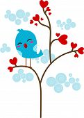 stock photo of loveless  - Illustration of a Lone Lovebird Perched on a Tree - JPG