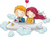 Illustration of Kids Going on a Joyride in a Mini Plane