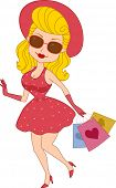 Illustration of a Pinup Girl Carrying Shopping Bags