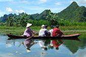 Boat On River To Perfume Pagoda