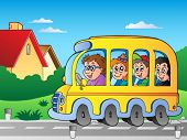 Road with school bus 1 - vector illustration.