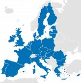 European Union Countries. Political Map With Borders. All 28 Eu Members Colored In Blue. Political A poster